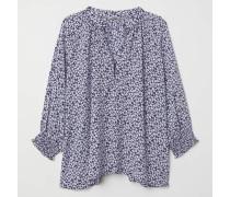 Bluse mit V-Ausschnitt - Dunkelblau/WeiB geblümt
