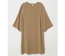 Kleid mit Trompetenärmeln - Khakigrün