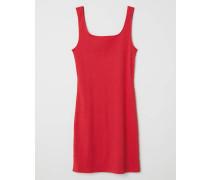 Geripptes Jerseykleid - Rot
