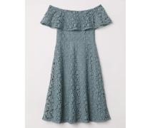 Off-Shoulder-Kleid aus Spitze - Mattblau