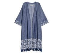 Bestickter Kimono - Dunkelblau