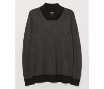 Pullover mit Schalkragen - Dunkelgraumeliert