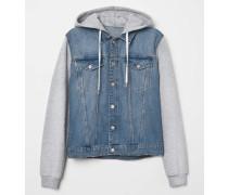 Jeansjacke mit Kapuze - Denimblau/Grau