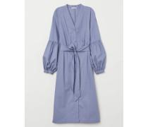 Blusenkleid mit V-Ausschnitt - Mattblau