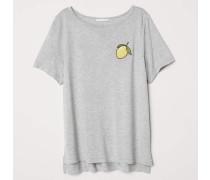 T-Shirt mit Motiv - Graumeliert/Zitrone