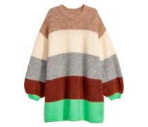 Oversize-Pullover aus Wollmix - Hellbeige/Colourblocking