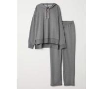 Schlafshirt und Hose - Graumeliert
