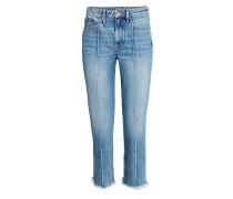 Straight Cropped High Jeans - Blau