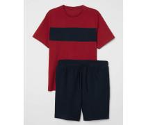 Schlafshirt und Shorts - Rot/Dunkelblau