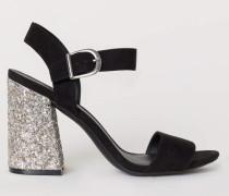 Sandaletten mit Blockabsatz - Schwarz/Silberfarben