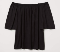 Off-Shoulder-Shirt - Schwarz