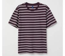 Gestreiftes T-Shirt - Weinrot/Gestreift