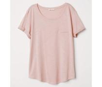 T-Shirt aus geflammtem Jersey - Altrosa