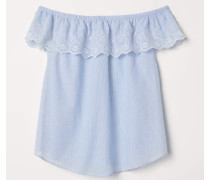 Off-Shoulder-Bluse - Blau/WeiB gestreift