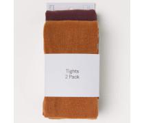 2-Pack Feinstrick-Strumpfhosen - Camel/Weinrot