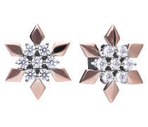 Stern-Ohrringe bicolor mit weißen Zirkonia-Steinen 6219511082