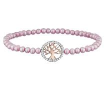 Armband, Perlen Rosa, Baum Rotvergold