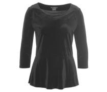 Shirt, 3/4-Arm, Samt-Optik, Peplum-Stil