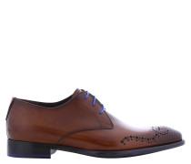 Business Schnürer, Kalbsleder, blaue Schnürsenkel
