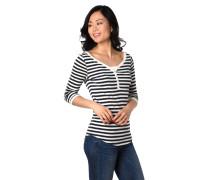 Shirt, 3/4-Arm, Streifen, V-Ausschnitt, Knopfleiste
