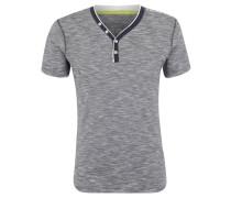 T-Shirt, meliert, Knopf-Details, Logo-Print