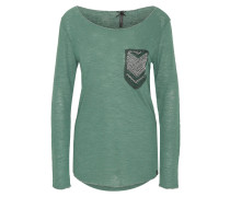 Langarmshirt, Flammgarn, Pailletten, Galonstreifen