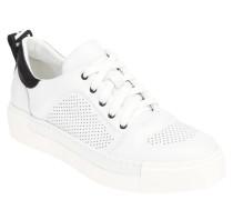 Sneaker, Plateau, Leder, Logo-Detail, Lochmuster