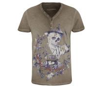 T-Shirt, Front-Print, Henley-Ausschnitt, Oil-Washed