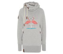 Sweatshirt, Wickelkragen, Flamingo-Motiv, Stickerei-Details