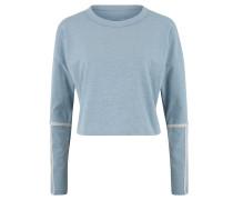 Langarmshirt, cropped, Rundhalsausschnitt, meliert