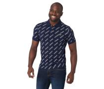 Poloshirt, Allover-Print, Marken-Patch, seitliche Schlitze