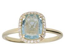 Blautopas & Zirkonia Ring Gelb 375