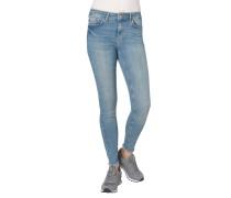 Jeans, Slim Fit, Fransen an den Enden, dezenter Used-Look