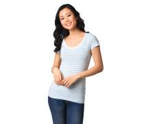 T-Shirt, gestreift, Marken-Stickerei, reine Baumwolle
