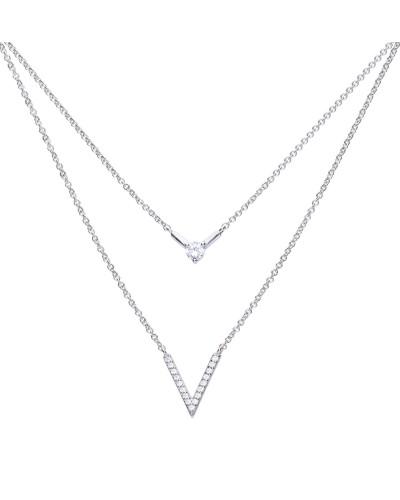 Graphisches Collier  mit weißem -Zirkonia und doppelreihiger Kette 6310551082