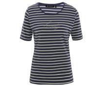 T-Shirt, Rundhals, Strass, Streifen