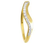 Diamant-Ring Gelb 375, zus. ca. 0,12 ct.