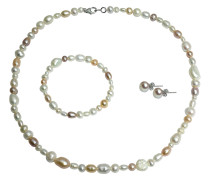 Set Collier, Armband und Ohrstecker, mit Süßwasser Zuchtperle