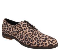 Schnürschuhe, Leder, Leoparden Muster, Blockabsatz