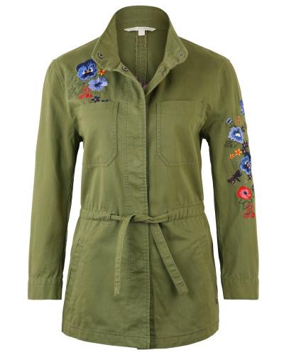 Jacke, florale Stickereien, Bindegürtel