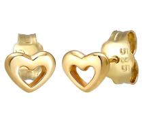 Ohrringe Stecker Herz Liebe Symbol Fein 585er Gelb