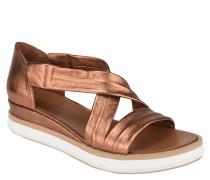 Sandalen, Leder, Metallic-Optik, überkreuzte Riemen