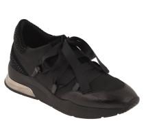 Sneaker, Plateau, breite Schnürsenkel, Strass
