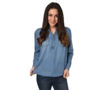 Hemdbluse, Jeans-Look, Knopfleiste, Stehkragen, Brusttaschen