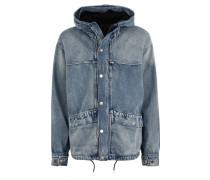 Jeansjacke, Kapuze, Oversize-Look, Reißverschluss, Baumwolle