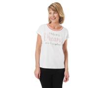 T-Shirt, Schrift-print, metallic-Details, kontrastfarbener Rippbund