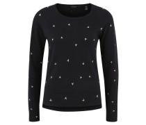 Pullover, Feinstrick, Allover-Print, Woll-Anteil