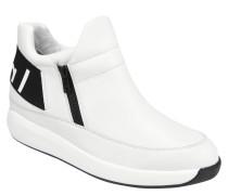 Sneaker, Leder, Reißverschluss, zweifarbig