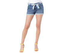 Jeans-Shorts, florales Bindeband, Baumwoll-Mix