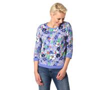 Sweatshirt, 3/4-Arm, Floral-Muster, Ripp-Abschlüsse